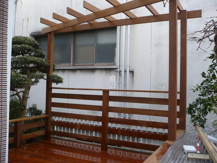 兵庫県神戸市H様、ウッドデッキ・パーゴラ